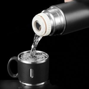 Термос (420-580 мл/5 цветов) из нержавеющей стали с кнопкой-клапаном и крышкой-ручкой