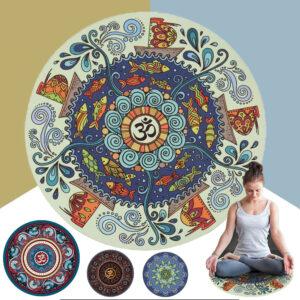 Круглый коврик для Йоги и медитации (60x0,3 см/5 цветов) из натуральных материалов с узором