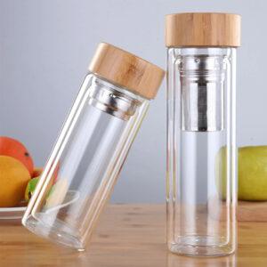 Стеклянная бутылка для питья (Borrey/350-450 мл) с бамбуковой крышкой